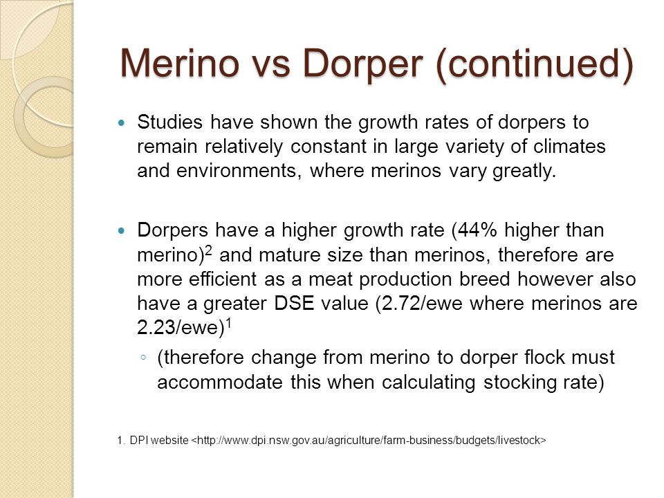 Merino vs Dorper (continued) Studies have shown the growth rates of dorpers to remain relatively constant in large variety of climates and environments, where merinos vary greatly.