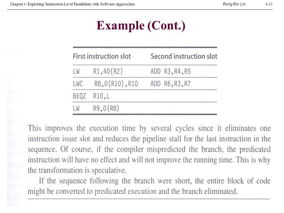 Rung-Bin Lin Chapter 4: Exploiting Instruction-Level Parallelism with Software Approaches4-35 Example (Cont.)