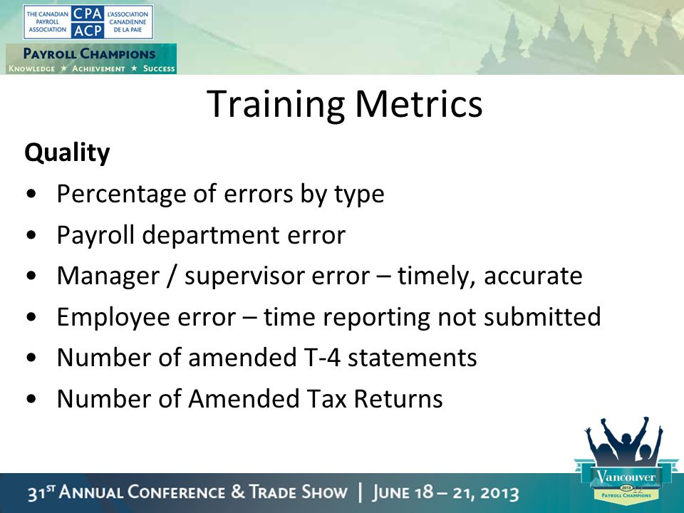 Training Metrics Quality Percentage of errors by type Payroll department error Manager / supervisor error – timely, accurate Employee error – time rep