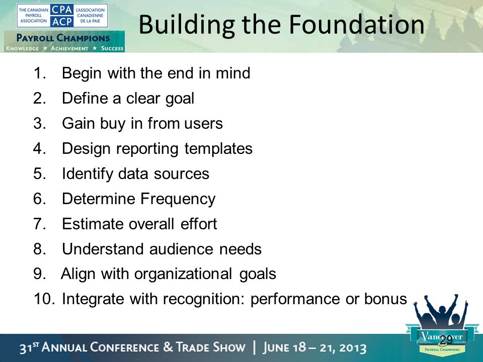 29 Building the Foundation 1. Begin with the end in mind 2. Define a clear goal 3. Gain buy in from users 4. Design reporting templates 5. Identify da