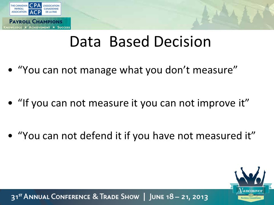 """Data Based Decision """"You can not manage what you don't measure"""" """"If you can not measure it you can not improve it"""" """"You can not defend it if you have"""