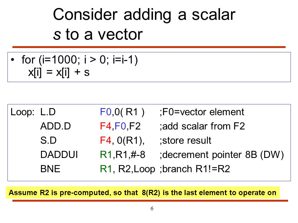 6 Consider adding a scalar s to a vector for (i=1000; i > 0; i=i-1) x[i] = x[i] + s Loop:L.DF0,0( R1 ) ;F0=vector element ADD.DF4,F0,F2;add scalar fro