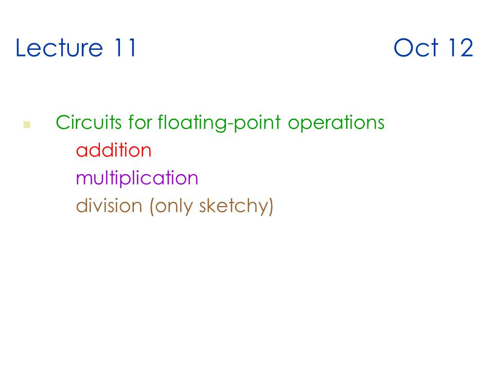 Lecture 11 Oct 12 Circuits for floating-point operations addition multiplication division (only sketchy)