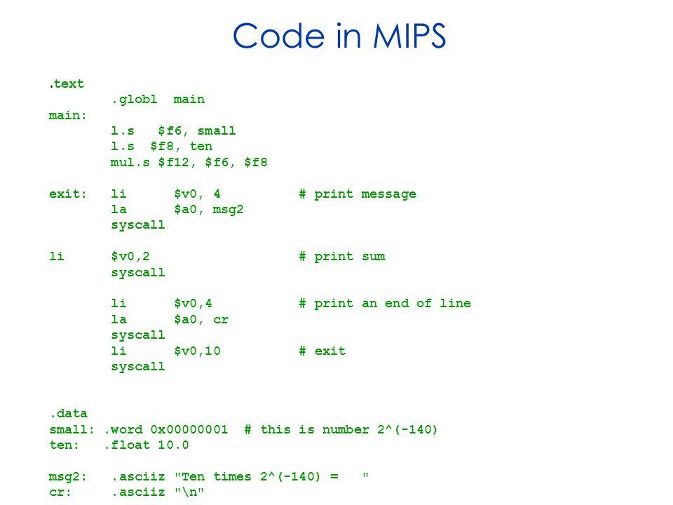 Code in MIPS.
