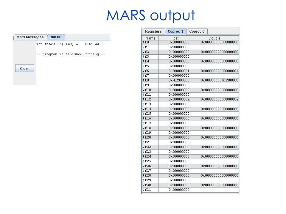 MARS output