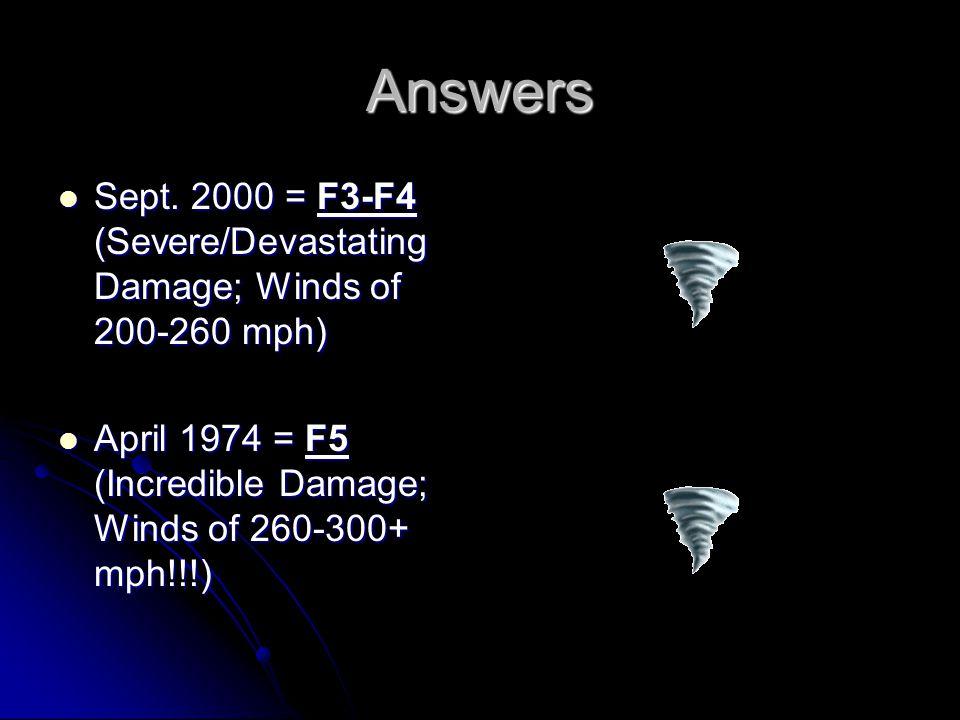 Answers Sept. 2000 = F3-F4 (Severe/Devastating Damage; Winds of 200-260 mph) Sept. 2000 = F3-F4 (Severe/Devastating Damage; Winds of 200-260 mph) Apri