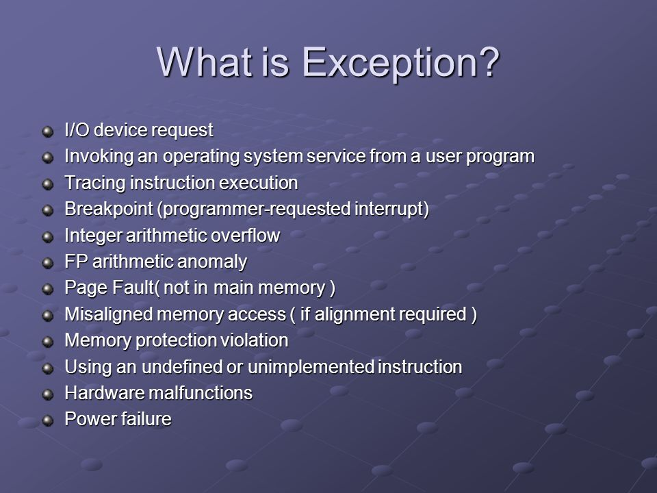 What is Exception.