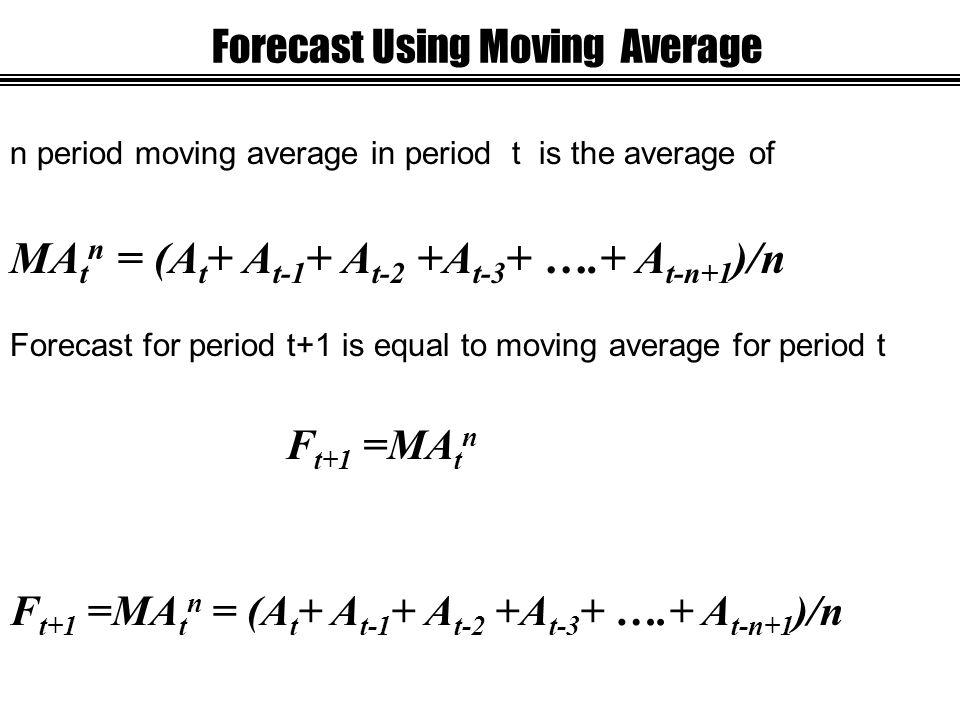 Forecast Using Moving Average Forecast for period t+1 is equal to moving average for period t F t+1 =MA t n n period moving average in period t is the average of MA t n = (A t + A t-1 + A t-2 +A t-3 + ….+ A t-n+1 )/n F t+1 =MA t n = (A t + A t-1 + A t-2 +A t-3 + ….+ A t-n+1 )/n