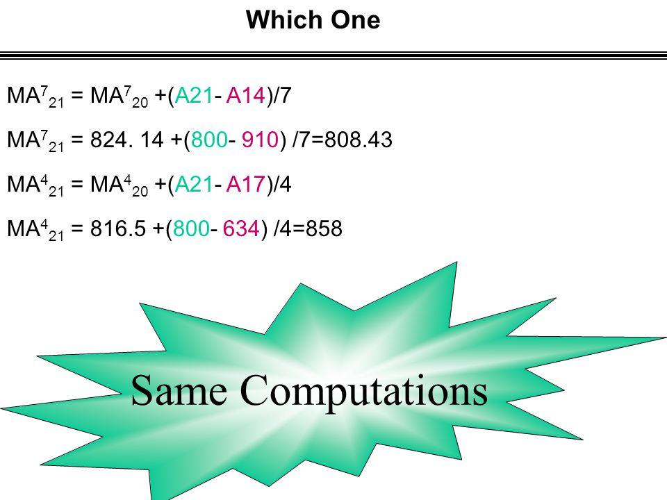 Which One MA 4 21 = MA 4 20 +(A21- A17)/4 MA 4 21 = 816.5 +(800- 634) /4=858 MA 7 21 = MA 7 20 +(A21- A14)/7 MA 7 21 = 824.
