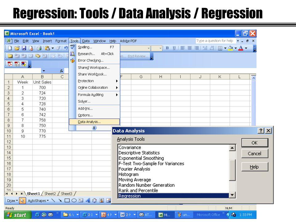 Regression: Tools / Data Analysis / Regression
