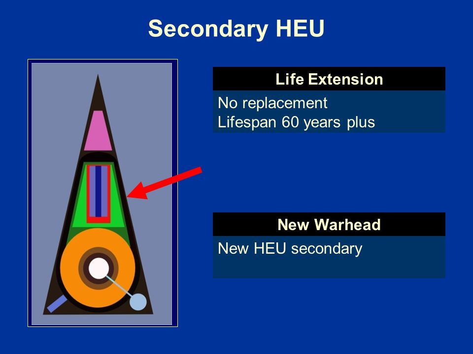Secondary HEU No replacement Lifespan 60 years plus New HEU secondary Life Extension New Warhead