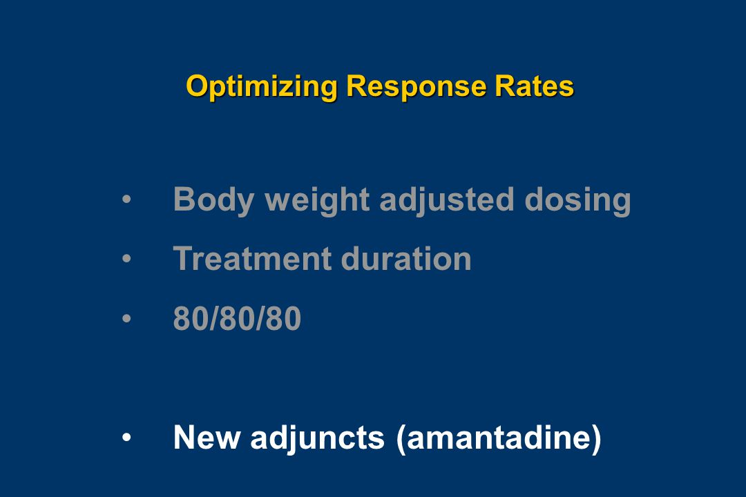 Optimizing Response Rates Body weight adjusted dosing Treatment duration 80/80/80 New adjuncts (amantadine)