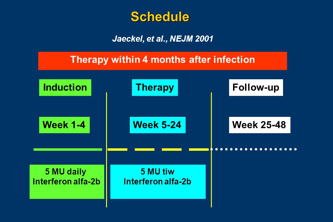 Schedule InductionTherapyFollow-up Week 1-4Week 5-24Week 25-48 5 MU daily Interferon alfa-2b 5 MU tiw Interferon alfa-2b Jaeckel, et al., NEJM 2001 Therapy within 4 months after infection