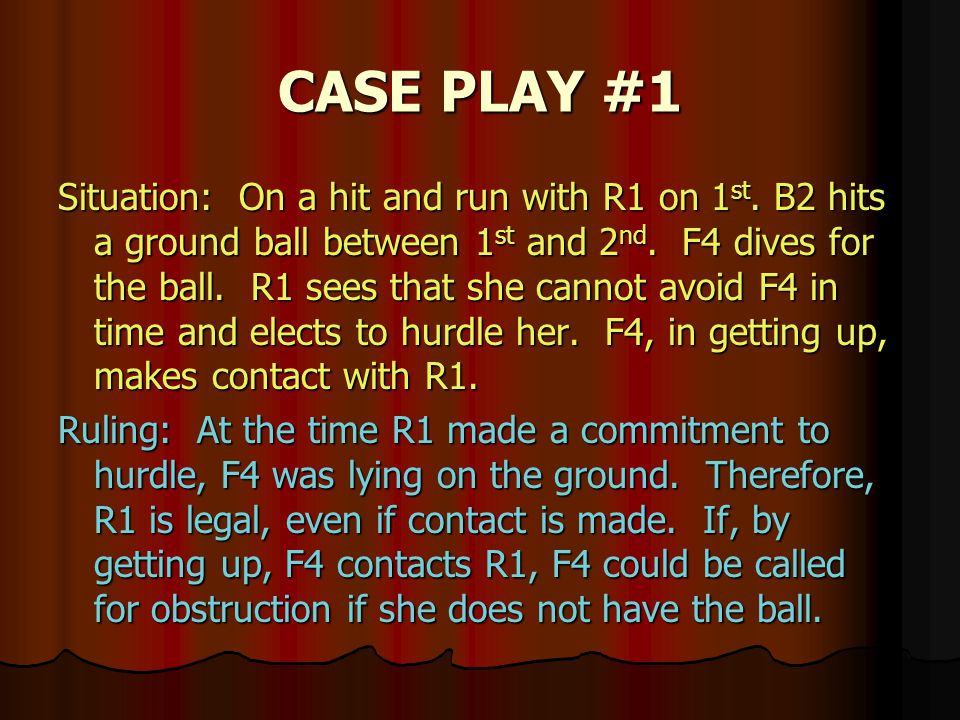 CASE PLAY #1 Situation: On a hit and run with R1 on 1 st.