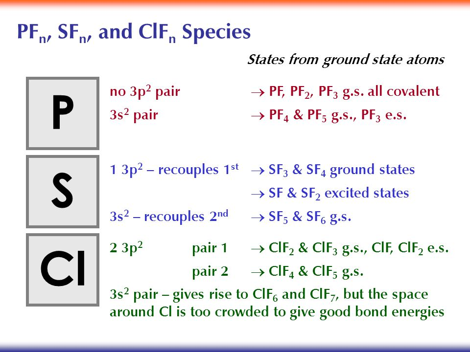 PF n, SF n, and ClF n Species P S Cl 1 3p 2 – recouples 1 st  SF 3 & SF 4 ground states  SF & SF 2 excited states 3s 2 – recouples 2 nd  SF 5 & SF