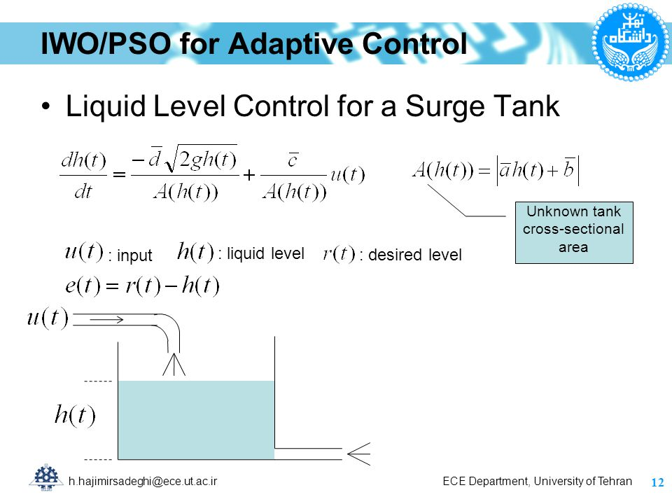 h.hajimirsadeghi@ece.ut.ac.ir ECE Department, University of Tehran IWO/PSO for Adaptive Control Liquid Level Control for a Surge Tank 12 : input : liquid level : desired level Unknown tank cross-sectional area