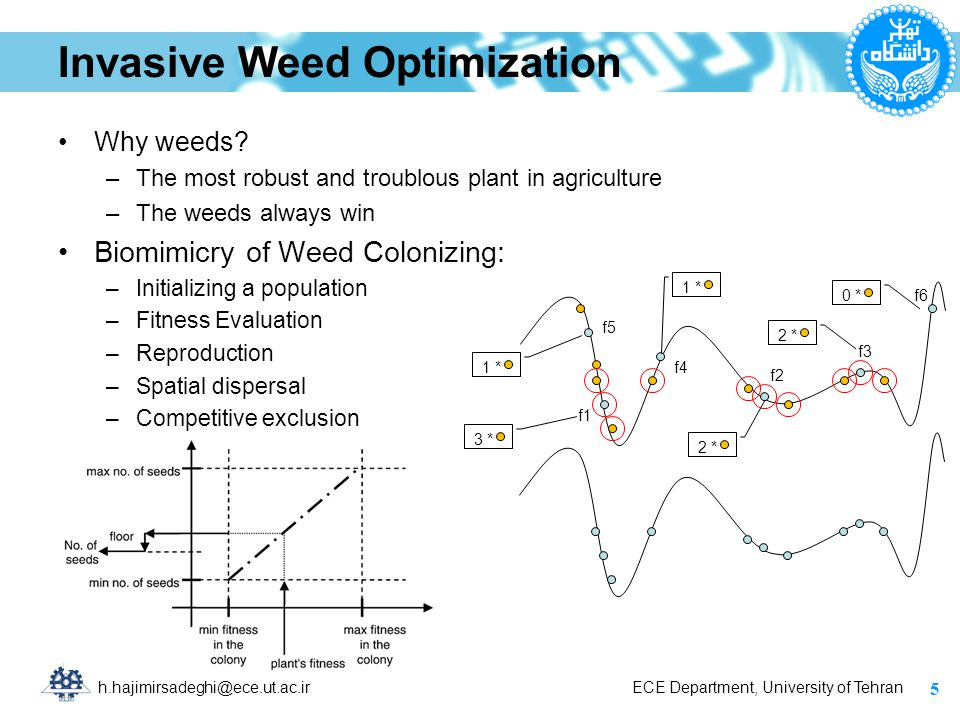 h.hajimirsadeghi@ece.ut.ac.ir ECE Department, University of Tehran Invasive Weed Optimization Why weeds? –The most robust and troublous plant in agric