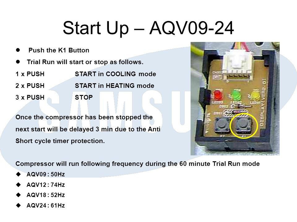 Start Up – AQV09-24 Push the K1 Button Trial Run will start or stop as follows. 1 x PUSHSTART in COOLING mode 2 x PUSHSTART in HEATING mode 3 x PUSHST