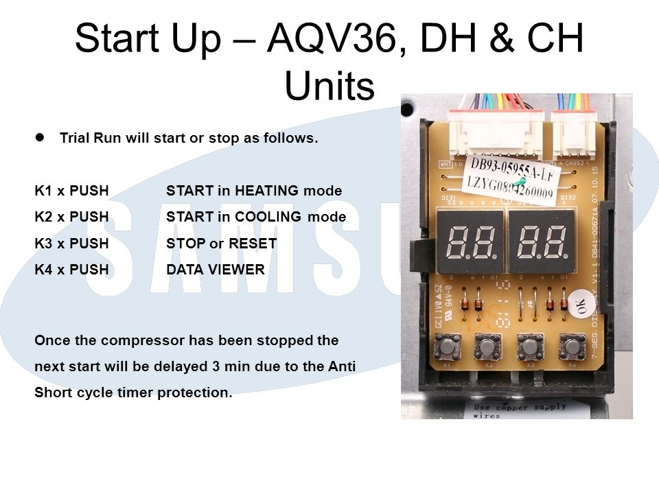 Start Up – AQV36, DH & CH Units Trial Run will start or stop as follows. K1 x PUSHSTART in HEATING mode K2 x PUSHSTART in COOLING mode K3 x PUSHSTOP o