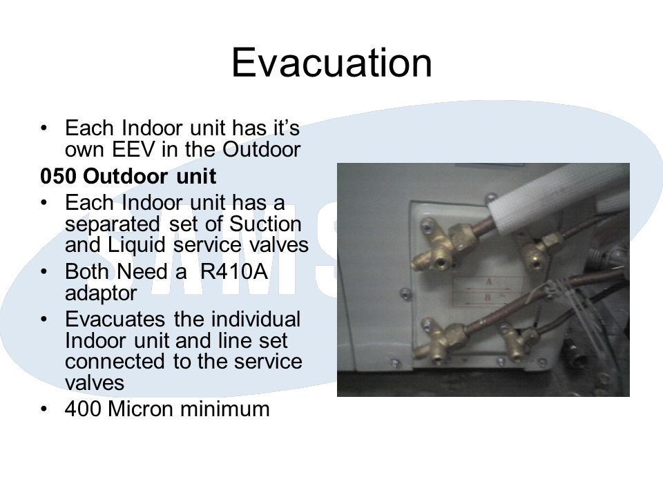 Evacuation Each Indoor unit has it's own EEV in the Outdoor 050 Outdoor unit Each Indoor unit has a separated set of Suction and Liquid service valves