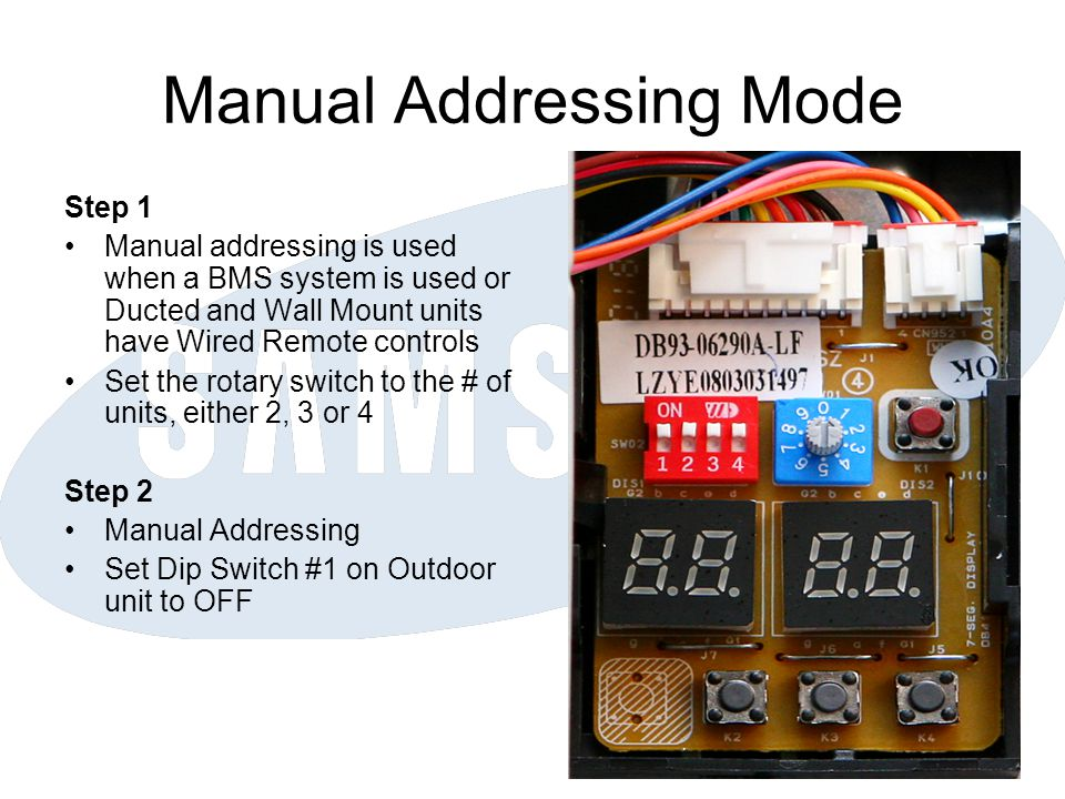 Manual Addressing Mode Step 1 Manual addressing is used when a BMS system is used or Ducted and Wall Mount units have Wired Remote controls Set the ro