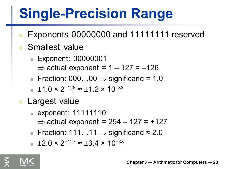 Chapter 3 — Arithmetic for Computers — 20 Single-Precision Range Exponents 00000000 and 11111111 reserved Smallest value Exponent: 00000001  actual e