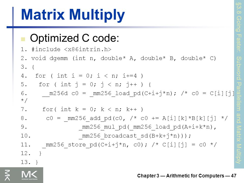 Matrix Multiply Optimized C code: 1. #include 2.