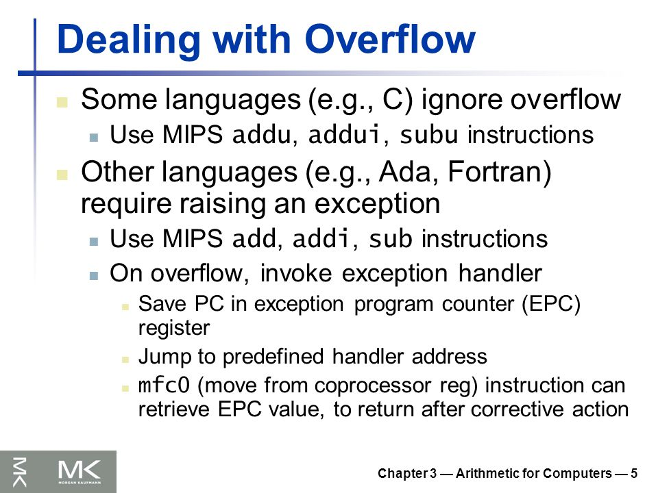 Chapter 3 — Arithmetic for Computers — 36 FP Example: °F to °C C code: float f2c (float fahr) { return ((5.0/9.0)*(fahr - 32.0)); } fahr in $f12, result in $f0, literals in global memory space Compiled MIPS code: f2c: lwc1 $f16, const5($gp) lwc2 $f18, const9($gp) div.s $f16, $f16, $f18 lwc1 $f18, const32($gp) sub.s $f18, $f12, $f18 mul.s $f0, $f16, $f18 jr $ra