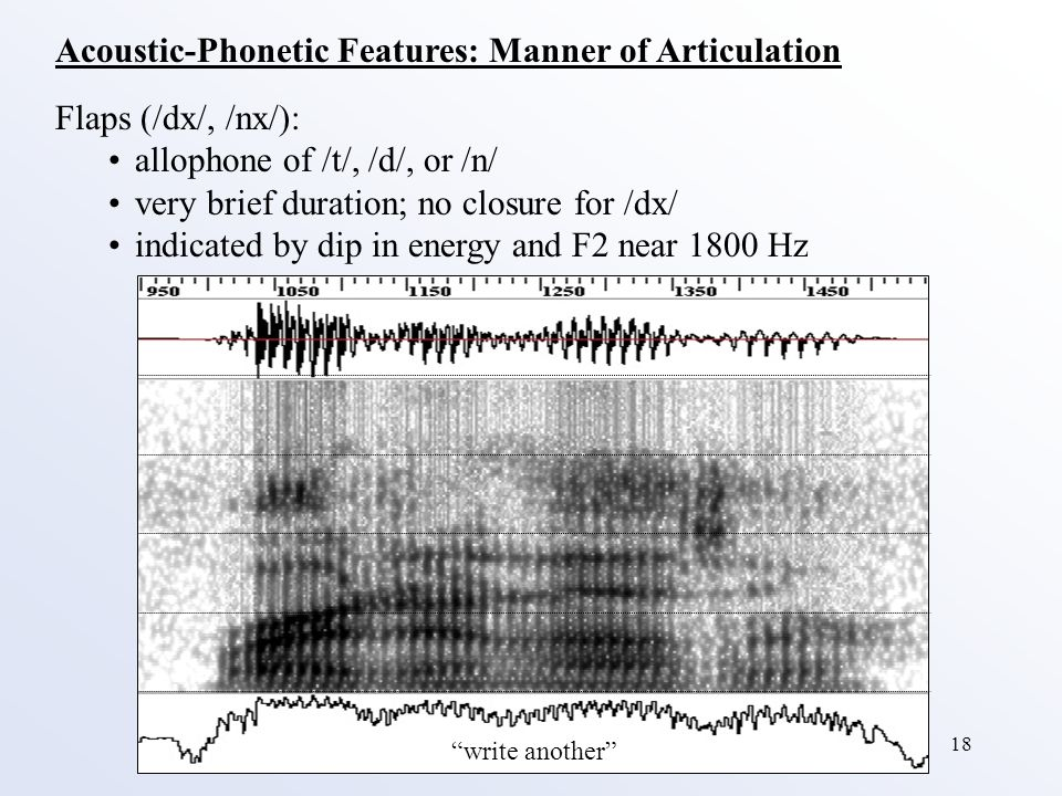 18 Acoustic-Phonetic Features: Manner of Articulation Flaps (/dx/, /nx/): allophone of /t/, /d/, or /n/ very brief duration; no closure for /dx/ indicated by dip in energy and F2 near 1800 Hz write another
