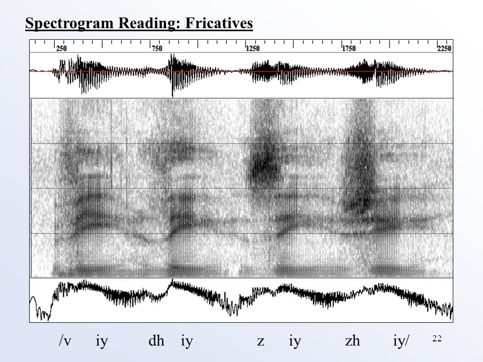 22 Spectrogram Reading: Fricatives /v iy dh iy z iy zh iy/