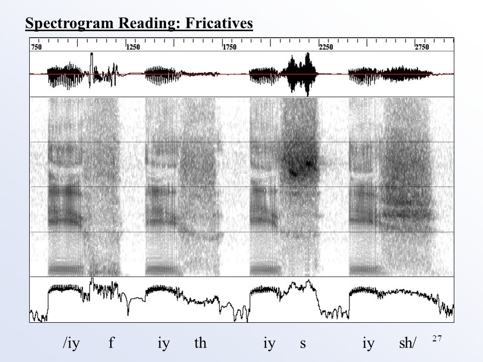 27 /iy f iy th iy s iy sh/ Spectrogram Reading: Fricatives