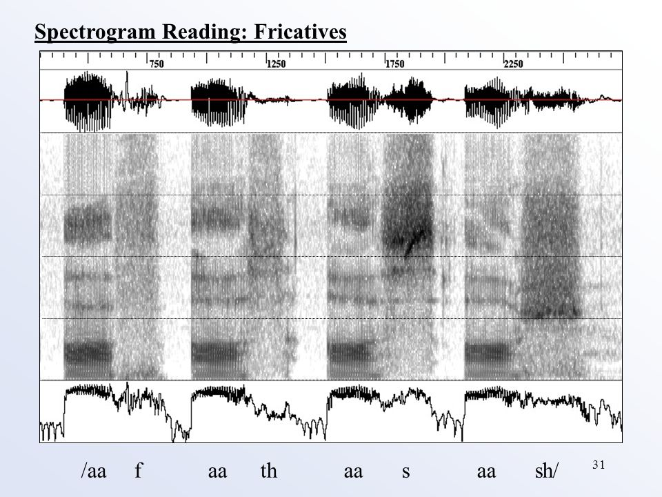 31 /aa f aa th aa s aa sh/ Spectrogram Reading: Fricatives