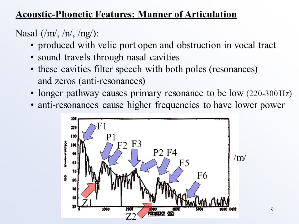 9 Acoustic-Phonetic Features: Manner of Articulation Nasal (/m/, /n/, /ng/): produced with velic port open and obstruction in vocal tract sound travel