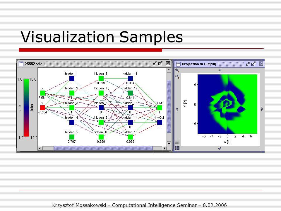 Krzysztof Mossakowski – Computational Intelligence Seminar – 8.02.2006 Visualization Samples