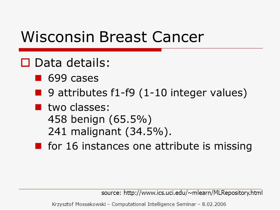 Krzysztof Mossakowski – Computational Intelligence Seminar – 8.02.2006 Wisconsin Breast Cancer  Data details: 699 cases 9 attributes f1-f9 (1-10 integer values) two classes: 458 benign (65.5%) 241 malignant (34.5%).