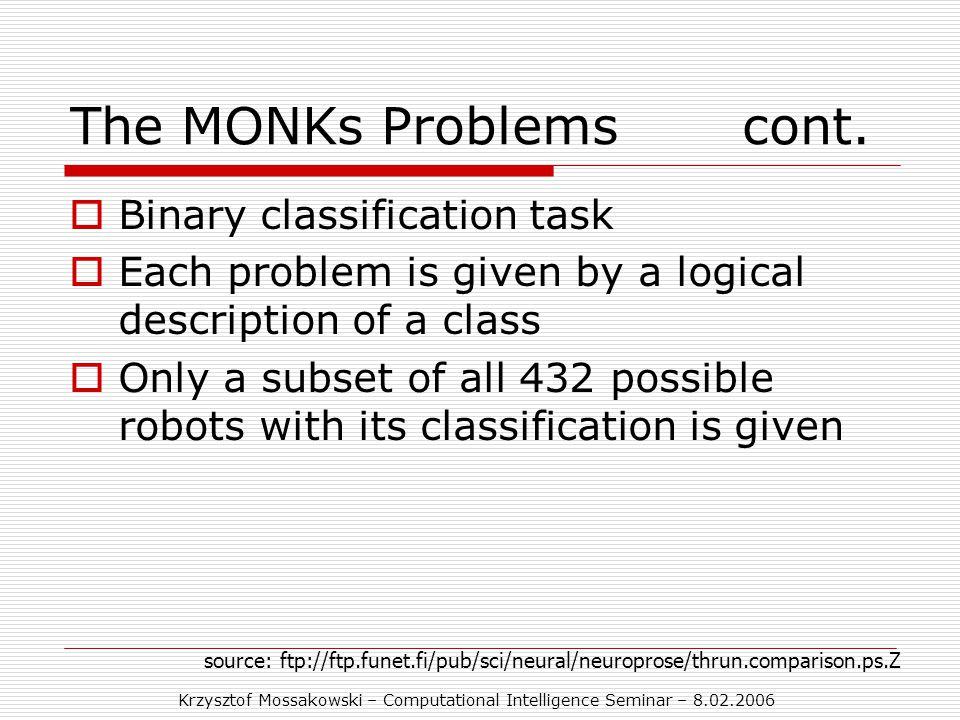 Krzysztof Mossakowski – Computational Intelligence Seminar – 8.02.2006 The MONKs Problemscont.
