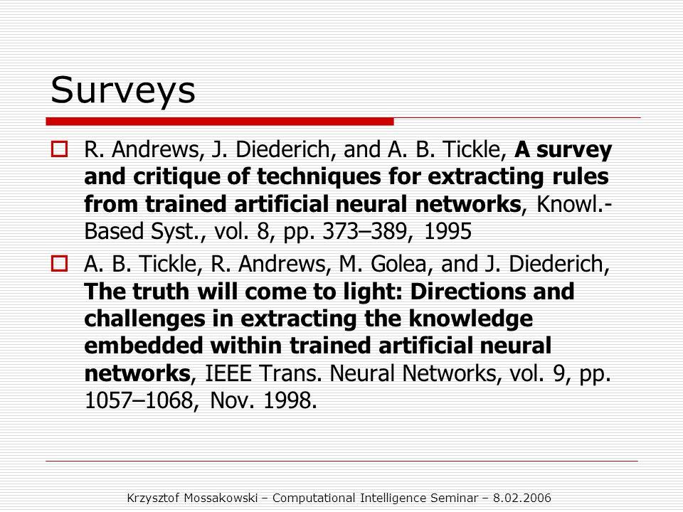 Krzysztof Mossakowski – Computational Intelligence Seminar – 8.02.2006 Surveys  R.