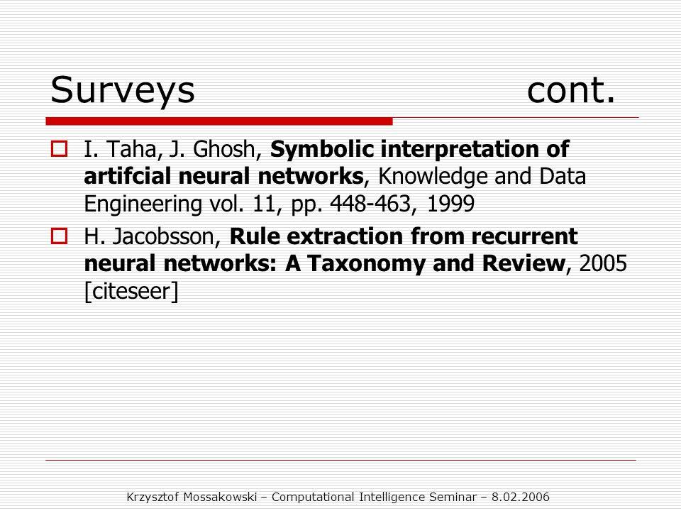 Krzysztof Mossakowski – Computational Intelligence Seminar – 8.02.2006 Surveyscont.