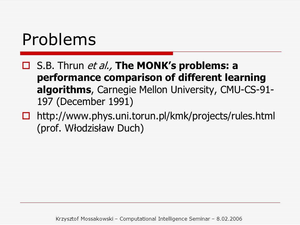 Krzysztof Mossakowski – Computational Intelligence Seminar – 8.02.2006 Problems  S.B.