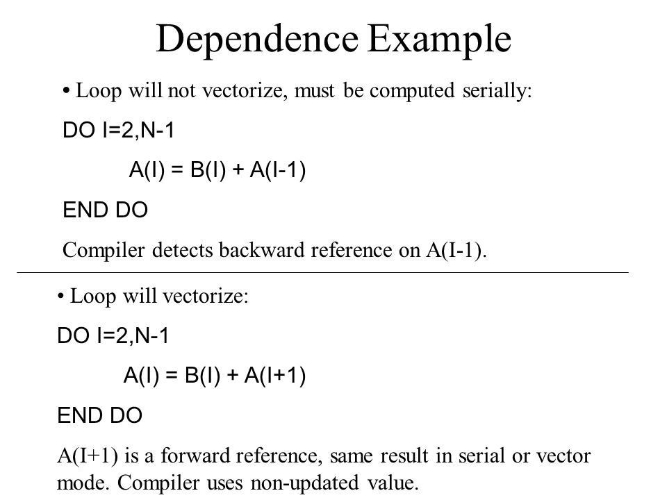 Dependence Example Loop will not vectorize, must be computed serially: DO I=2,N-1 A(I) = B(I) + A(I-1) END DO Compiler detects backward reference on A(I-1).