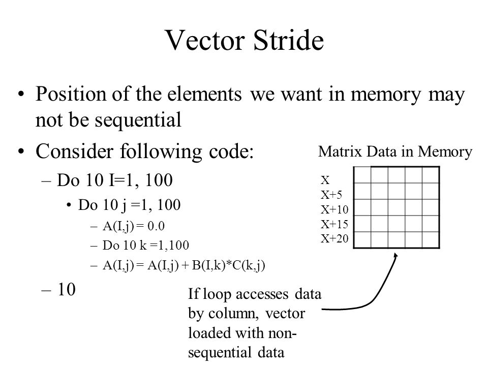 Vector Stride Position of the elements we want in memory may not be sequential Consider following code: –Do 10 I=1, 100 Do 10 j =1, 100 –A(I,j) = 0.0