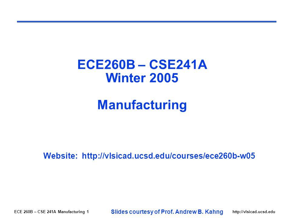 ECE 260B – CSE 241A Manufacturing 1http://vlsicad.ucsd.edu ECE260B – CSE241A Winter 2005 Manufacturing Website: http://vlsicad.ucsd.edu/courses/ece260b-w05 Slides courtesy of Prof.
