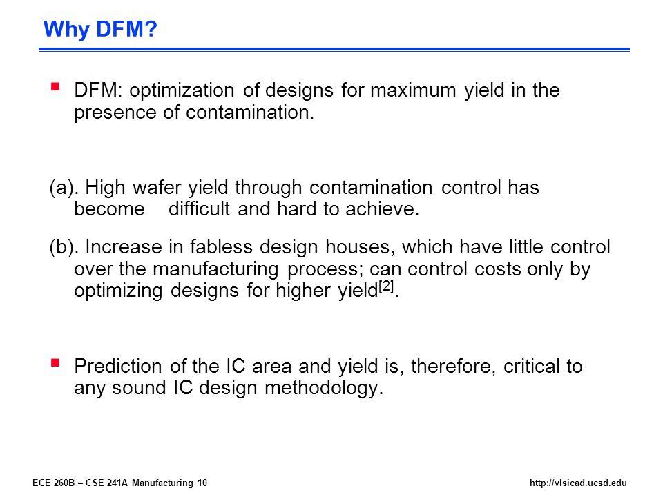 ECE 260B – CSE 241A Manufacturing 10http://vlsicad.ucsd.edu Why DFM.