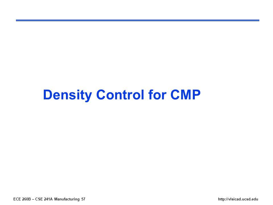 ECE 260B – CSE 241A Manufacturing 57http://vlsicad.ucsd.edu Density Control for CMP