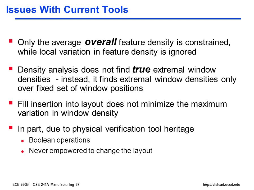 ECE 260B – CSE 241A Manufacturing 67http://vlsicad.ucsd.edu Issues With Current Tools  Only the average overall feature density is constrained, while local variation in feature density is ignored  Density analysis does not find true extremal window densities - instead, it finds extremal window densities only over fixed set of window positions  Fill insertion into layout does not minimize the maximum variation in window density  In part, due to physical verification tool heritage l Boolean operations l Never empowered to change the layout