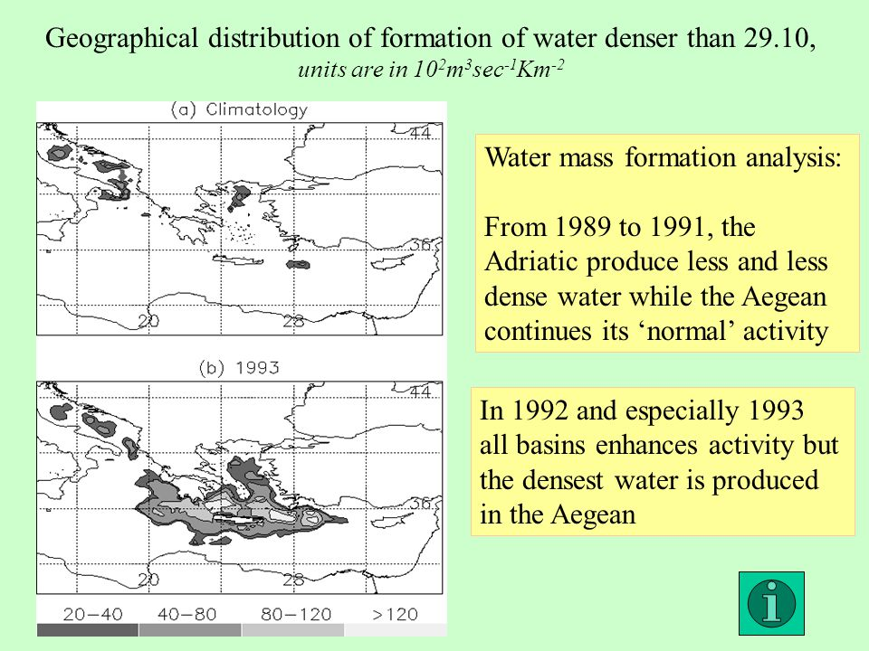 Water mass formation analysis: From 1989 to 1991, the Adriatic produce less and less dense water while the Aegean continues its 'normal' activity In 1