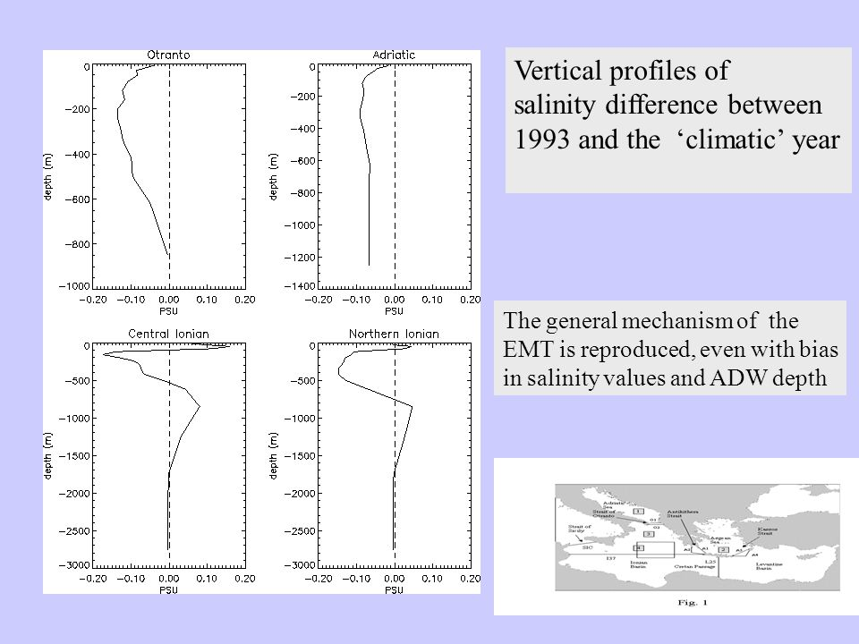 Vertical profiles of salinity difference between 1993 and the 'climatic' year The general mechanism of the EMT is reproduced, even with bias in salini