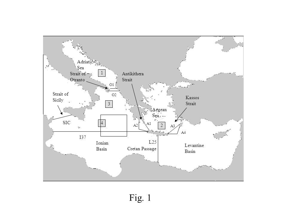 O1 O2 I37 A1 A3 A4 L25 SIC A2 1 2 3 4 Strait of Otranto Antikithera Strait Kassos Strait Aegean Sea Adriatic Sea Ionian Basin Levantine Basin Cretan P