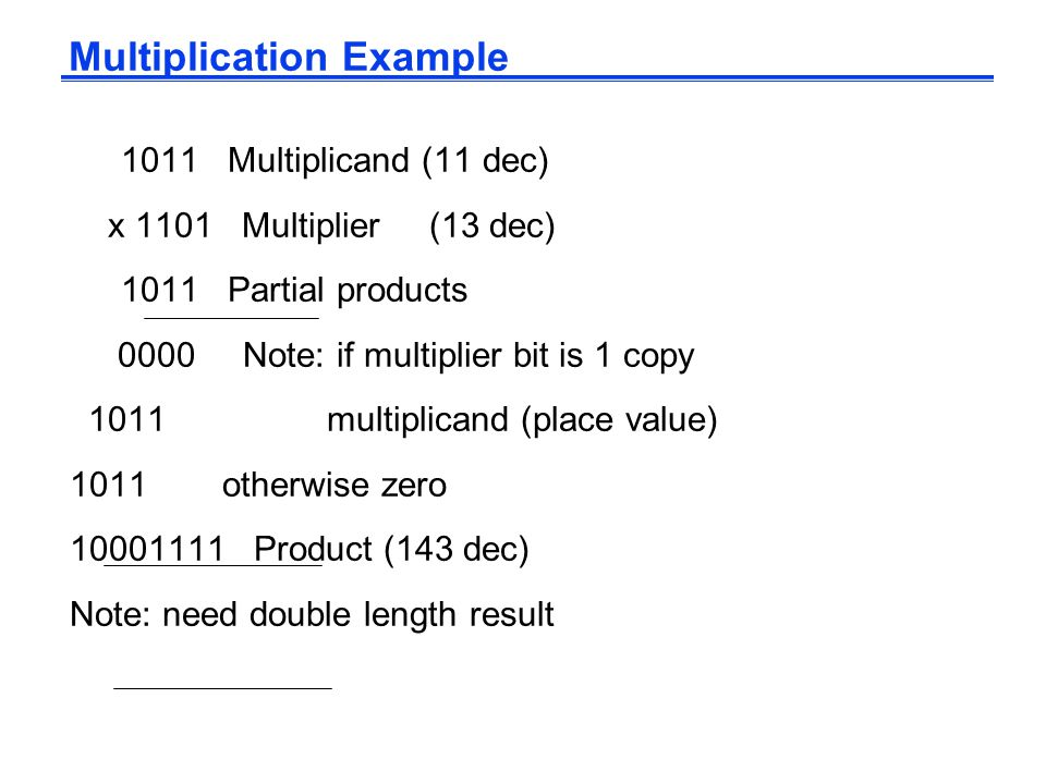 Multiplication Example 1011 Multiplicand (11 dec) x 1101 Multiplier (13 dec) 1011 Partial products 0000 Note: if multiplier bit is 1 copy 1011 multiplicand (place value) 1011 otherwise zero 10001111 Product (143 dec) Note: need double length result