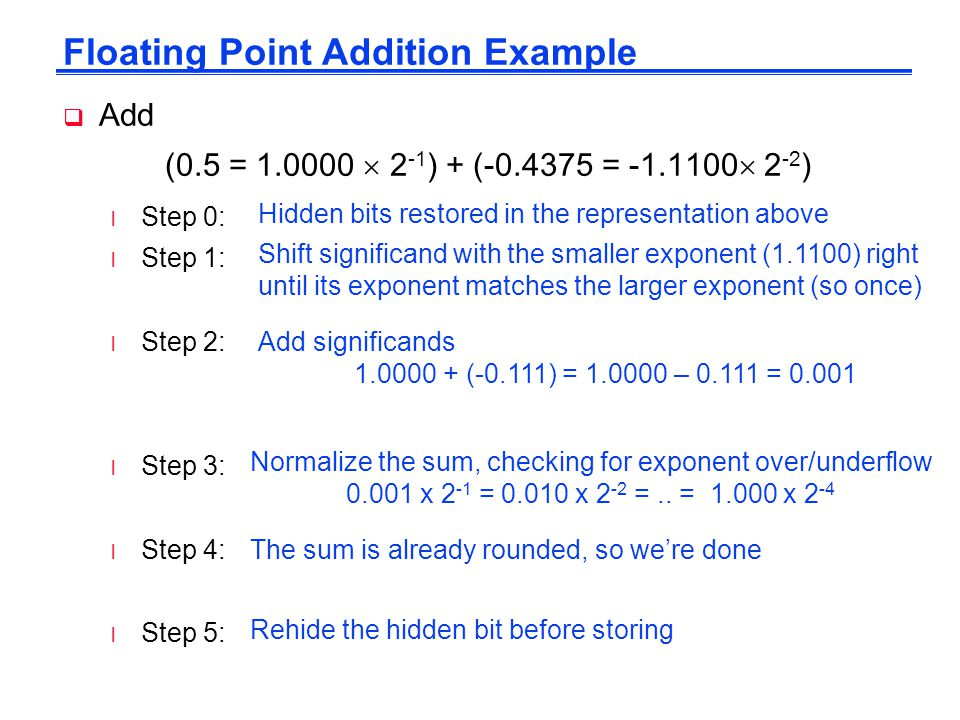 Floating Point Addition Example  Add (0.5 = 1.0000  2 -1 ) + (-0.4375 = -1.1100  2 -2 ) l Step 0: l Step 1: l Step 2: l Step 3: l Step 4: l Step 5: Hidden bits restored in the representation above Shift significand with the smaller exponent (1.1100) right until its exponent matches the larger exponent (so once) Add significands 1.0000 + (-0.111) = 1.0000 – 0.111 = 0.001 Normalize the sum, checking for exponent over/underflow 0.001 x 2 -1 = 0.010 x 2 -2 =..